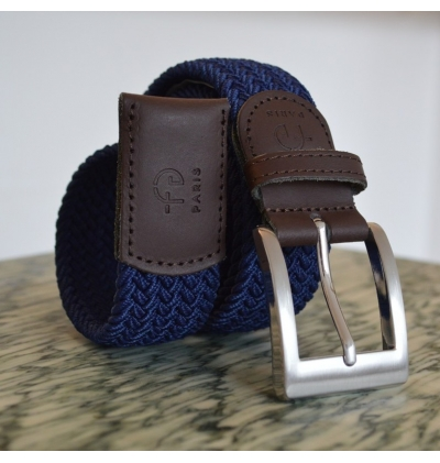 Ceinture tressee made in france finitions en cuir
