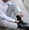 Black mercerized cotton knee-high socks made in France