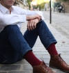 Chaussettes made in France en fil d'écosse bordeaux