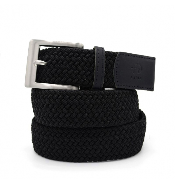 Made in france braided belt with leather ends