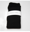 Black mercerized cotton knee-high socks made in France