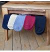 Navy Mercerized cotton knee-high socks made in France