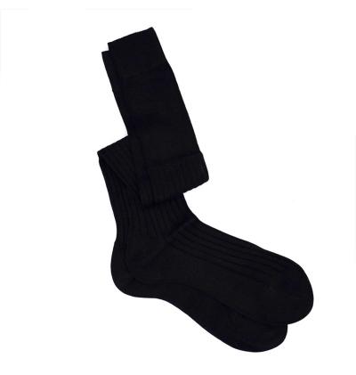 chaussettes-montantes-mi-bas-noir-unies-en-pur-fil-d'écosse-remaillées-à-la-main-pour-hommes