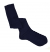 Navy blue pure mercerized cotton knee-high socks handly remeshed