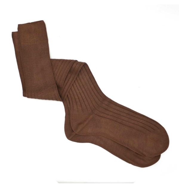 Coffee pure mercerized cotton knee-high socks handly remeshed
