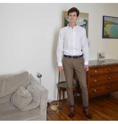Royale blue pure mercerized cotton knee-high socks