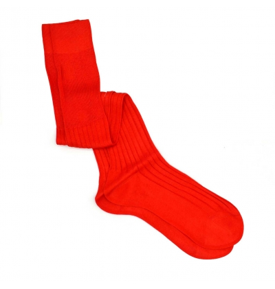 Ruby red pure mercerized cotton knee-high socks