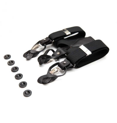 Black suspenders hybride clips or buttons with full grain leather  link parts