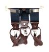 Bretelles-bleu-marine-hommes-unies-à-pinces-et-à-boutons-finitions-en-cuir-pleine-fleur-réglables