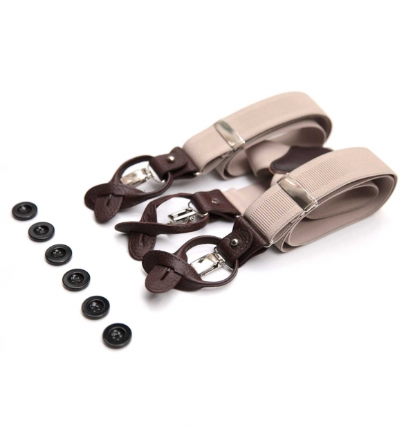 suspenders with clips or buttons and full grain leather links
