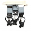 Grey iceberg suspenders with clips or buttons and full grain leather links