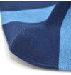 Blue socks with light blue stripes