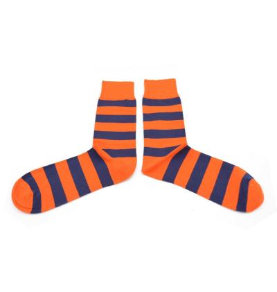 chaussettes-fantaisie-hommes-femmes-en-coton-oranges-à-rayures-bleu-marine-remaillées-à-la-main