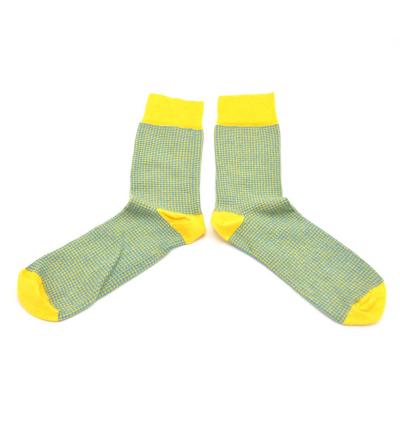chaussettes-fantaisie-hommes-femmes-en-coton-jaunes-à-motif-pied-de-poule-bleu-ciel-remaillées-à-la-main