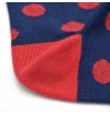 Blue socks with yellow dots