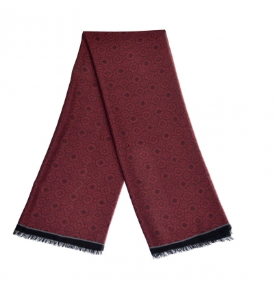 Burgundy light whool scarf made of virgin whool and vegetal fibers