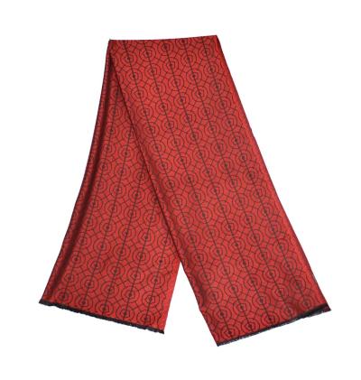 Echarpe-legere-rouge-vif-femme-homme-fibres-naturels-motifs-bosquetde-letoile-lenotre-versailles
