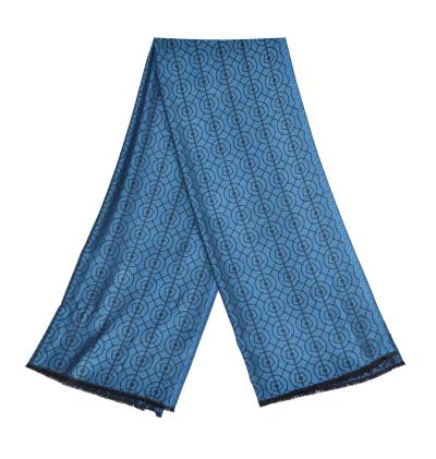 Echarpe-legere-bleu-saphir-femme-homme-fibres-naturels-motifs-bosquetde-letoile-lenotre-versailles