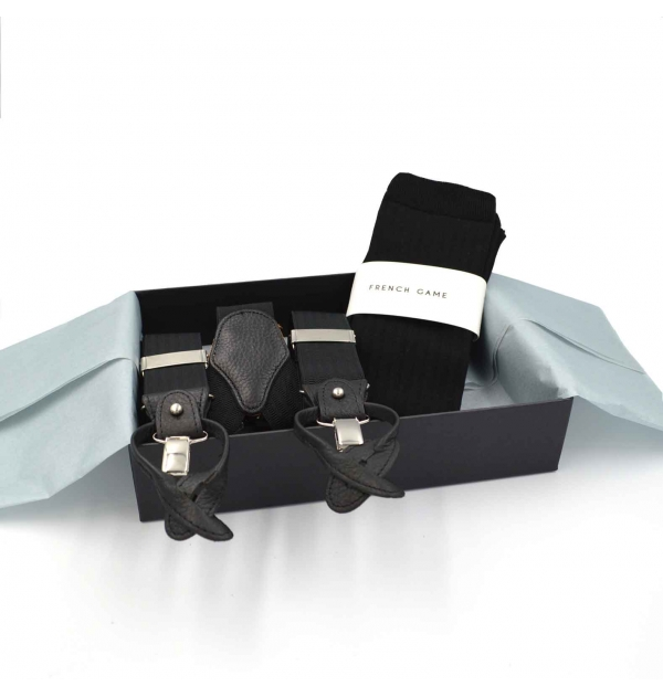 Giftbox with matching men suspenders with buttons and clips and made in France knee-high socks