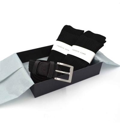 Coffret cadeau homme made in france chaussettes fil d ecosse ceinture tressee