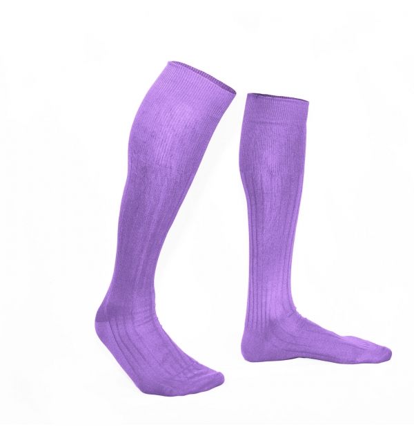 Amethyst mauve pure mercerized cotton knee-high socks