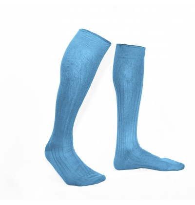 Sky blue pure mercerized cotton knee-high socks