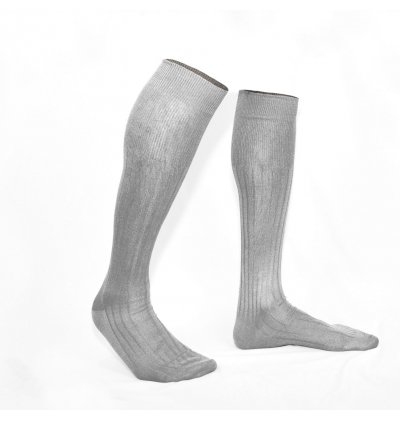 Sand beige pure mercerized cotton knee-high socks