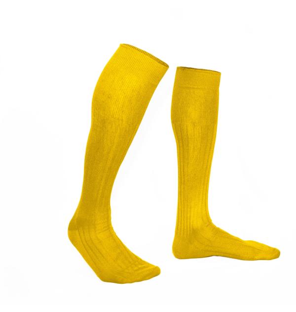 Yellow rapeseed pure mercerized cotton knee-high socks