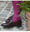 Purple plum pure mercerized cotton knee-high socks