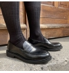 Charcoal black pure mercerized cotton knee-high socks handly remeshed