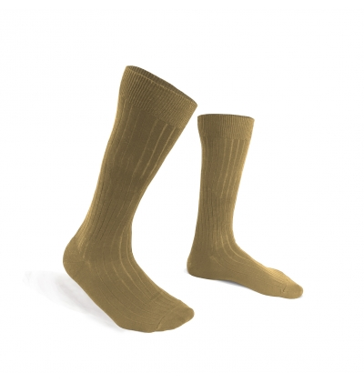 Beige mercerized cotton made in France knee-high socks
