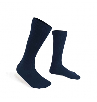 Navy Mercerized cotton knee-high socks made in France