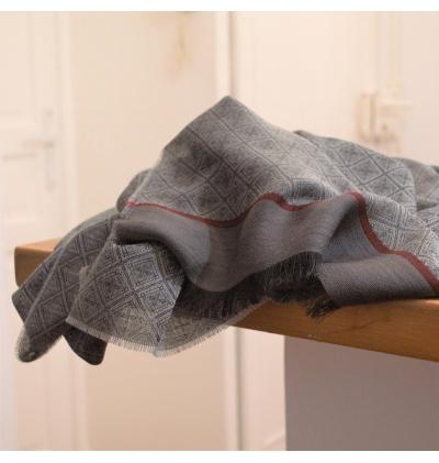 Echarpe légère grise à losange unisexe en laine vierge