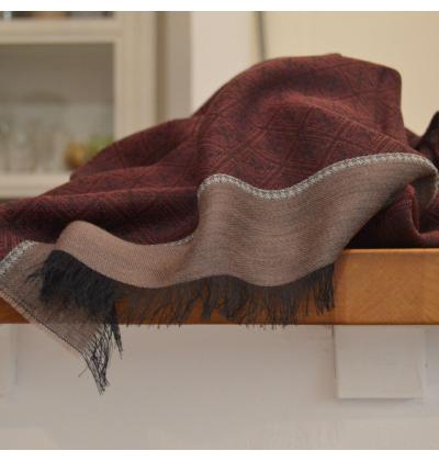 Echarpe légère unisexe bordeaux à losanges en laine vierge et fibres végétales de viscose