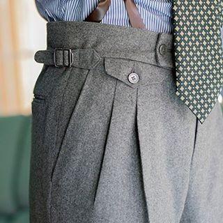 Pantalon à pince gris homme bretelles à boutons