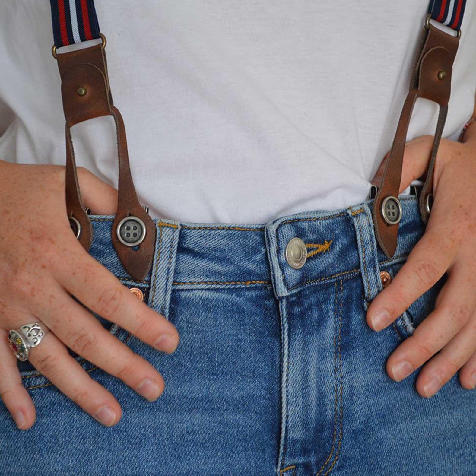Bretelles vintage à boutons empiècements en cuir