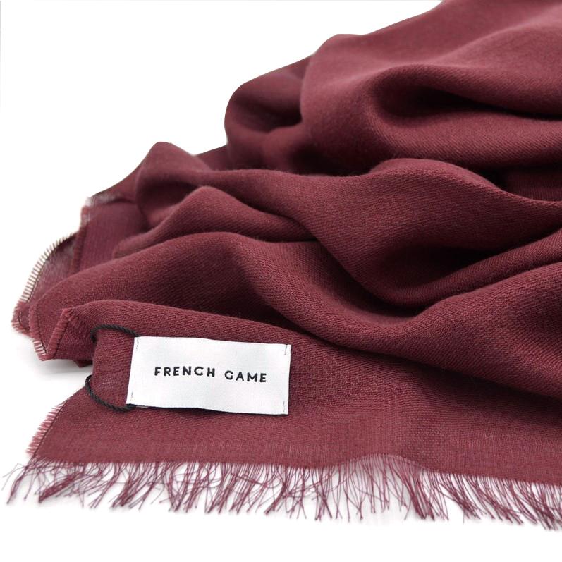 Qualité laine authentique matiere premiere etole bordeaux