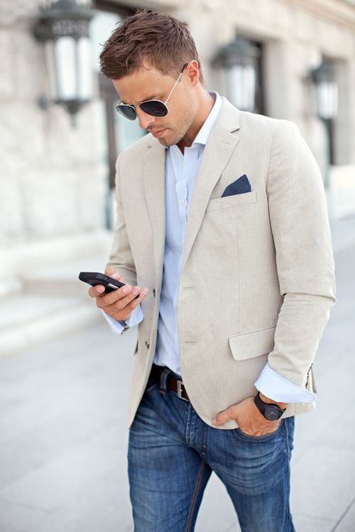 Style casual chic homme jean blazer
